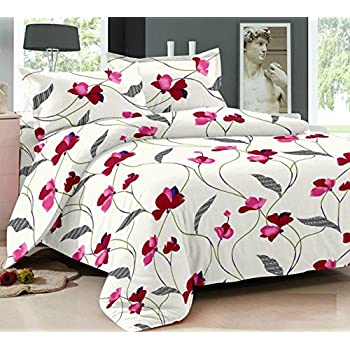 Ahmedabad Cotton Comfort 160 TC Cotton Single Bedsheet with 1 Pillow Cover - White and Pink