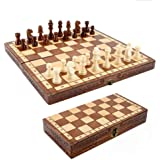 Dosenstek ihopfällbart handgjort schackspel i trä 30 x 30 cm