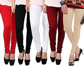 K's Creations Women's Cotton Lycra Churidar Leggings (Pack of 5) - Free Size