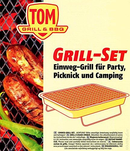 61FjcdDJjOL - 5 x TOM Grill & BBQ Einweggrill Set mit Kohle und Anzünder