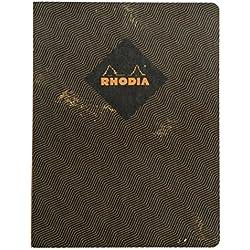 Clairefontaine Rhodia Heritage-Cuaderno (a rayas, 160páginas con marco, numeradas, marfil, 19 x 25 cm)diseño de espigas, color gris oscuro