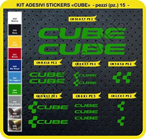 Preisvergleich Produktbild Code 0094- Cube selbstklebend Fahrrad Aufkleber-Kit, 15Aufkleber, Auswahl von Farben - Verde Lime cod. 064