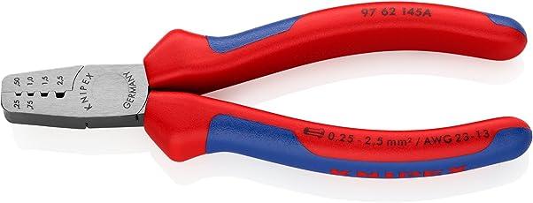 Knipex 97 62 145 A – Crimpzange mit Trapezprofilen für Aderendhülsen