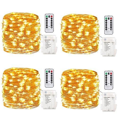 GDEALER 4er 5M 50 Micro LED Lichterkette Batteriebetrieben mit Fernbedienung und Timer, IP65 Wasserdicht Kupferdraht 8 Modi Außen Innen für Party, Garten, Weihnachten, Hochzeit, Deko
