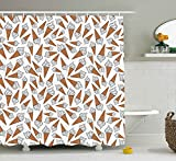 JAMES STRAIN Sweet Decor Shower Curtain, Takeaway Vanilla Ice Cream Gelato Background Yummy Desert Scoop Image, Fabric Bathroom Decor Set with Hooks, 70 inches, Pearl Light Caramel