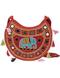 Women's Embordierd Multi Coloured Shoulder Bag/Traditional Bag/Jhola/Jaipuri Rajsthani Bag - B07D7FPNVZ