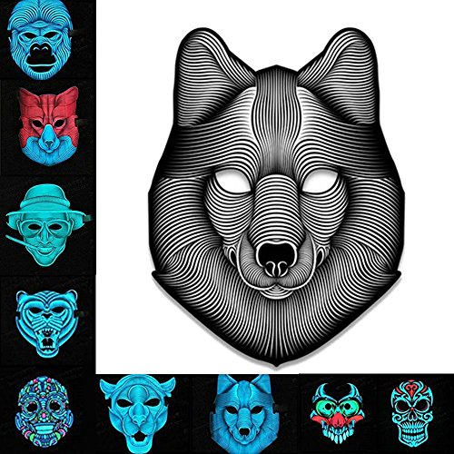 Asdomo Scary LED Halloween Maske, Horror Light Soundaktiviert Cosplay Glowing Maske Kostüm für Halloween Christmas Festival Party Costume Mask, Batterie Angetrieben(Nicht ()