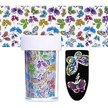 BONNIESTORE 1 Rollo de Transferencia Pegatinas 4 * 100 cm Calcomanías de Uñas Hoja Holográfica Colorida Flor de La Mariposa Cielo Estrellado Nail Art DIY decoración