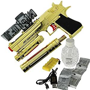 DNA Leisure New for 2018 Children and Adults Battery Operated USB MP3 GEL SOFT Water Crystal Toy Gun Pistol Blaster Set in GOLD 20m Range With 2000 ammo For Kids And Adults Includes Silencer