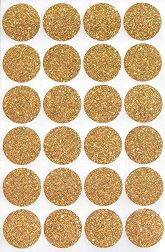 Glitzernde Farbetiketten, 2,5 cm, rund, 25 mm, Punkte-Glitzer-Aufkleber, bunte Punkte 120 Sparkly-gold
