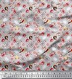 Soimoi Grau Samt Stoff Spirale, owl & Rose Blumen- Dekor