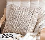 Dekorative Baumwolle Kissenbezug Strick double-cable Warm Überwurf Bezüge Kissen für Bett Couch 45,7x 45,7cm, baumwolle, beige, Cover Only