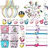 RHCPFOVR Unicorn Party Favors Supplies, 42 Pack Rainbow Unicorn Birthday Party Supplies Set, Bandas para la Cabeza, Pulseras de Unicornio, Monedero, Llaveros, Anillos Novedad Juguetes Premios Regalos