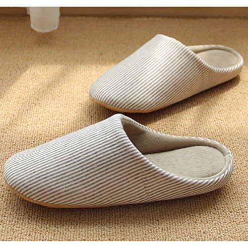 Sasairy Unisex Pantofole in Cotone Banda Stile Semplice Cucire le Suole Caldo Antiscivolo Ciabatte per Donna e Uomo Autunno Inverno a Casa marrone chiaro