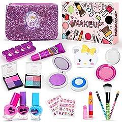 Idea Regalo - Jojoin Trucchi Bambina Set, 19 Pezzi Lavabile Makeup Set per I Bambini con 2 Clip di Colore, 3 Smalto per Unghie di Cuore, 2 Adesivi per Unghie e Sacchetto Cosmetico