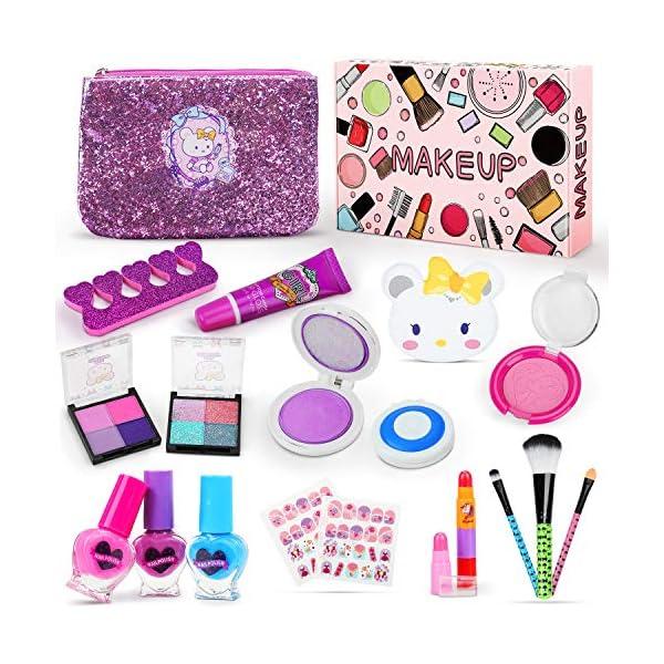 Jojoin Trucchi Bambina Set, 19 Pezzi Lavabile Makeup Set per I Bambini con 2 Clip di Colore, 3 Smalto per Unghie di… 1 spesavip