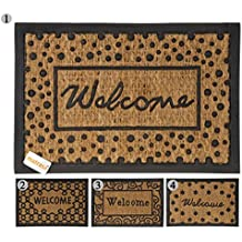 Türmatte WELCOME aus Kokosfaser mit Anti-Rutsch-Matte Kokos Fußabtreter Fußmatte Schuhabtreter (60 x 40 cm (VARIANTE 2))