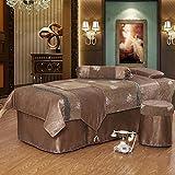 YAN Mesa de masaje Cama Sofá Cubierta de la cama Cubierta de edredón Funda de almohada Funda de taburete 4 piezas Conjuntos Salón de belleza de masaje (Color : Marrón, tamaño : 190*80*58cm)