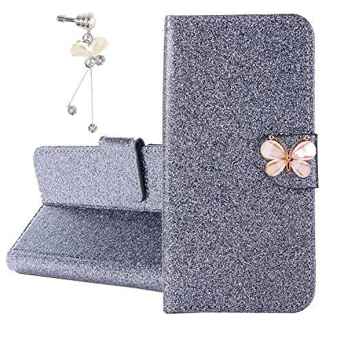 Xifanzi Glitzer PU Ledertasche für Huawei Y3 2017 Glänzende Einfarbig Lederhülle Luxus Flip Cover Hülle Schmetterling Magnetclip Design Tasche Folio für [Huawei Y3 2017] Grau + 1X dust Plug