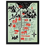 Feeby. Bild in der Rahme, Ein Deco-Bild, Bilder Kunstdrucke, Wandbilder - 1 Teilig- 70x100 cm, Twin Peaks Map - Robert Farkas, Landkarte, Illustration, Schwarz