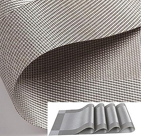 Kokome Lot de 4Sets de table lavables en PVC résistant à la chaleur