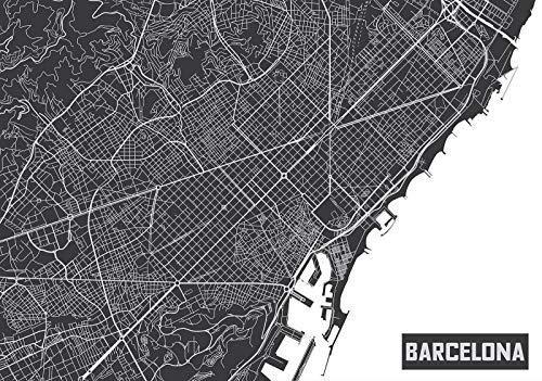 ForWall Fototapete Wanddekoration - Wandtapete Stadtplan Barcelona P4 (254cm. x 184cm.) AMF12745P4 Wandtapete Design Tapete Wohnzimmer Schlafzimmer (Stadtpläne Uns)