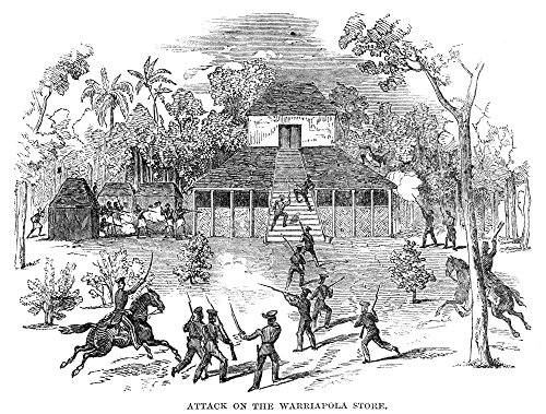 Ceylon: Wariyapola 1850. /Nshoot-Out Between The British Ceylon Rifle Regiment and Anti-Colonial Rebels at The Store at Wariyapola C1848. Engraving English 1850. Kunstdruck (60,96 x 91,44 cm) -