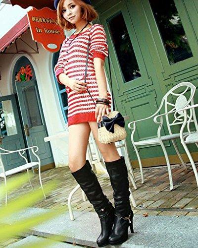 Minetom Femme Automne HHiver 2 Portant Des Styles Bottes Talon Haut Bottes Chaussures Bottines Biker Bottes Noir
