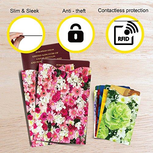 [12-Packung] RFID Blocking Hüllen - Designer Set, für Kreditkarte & ID Schützhüllen, ideal für im Portemonnaie / Passschutzhülle - Voller Schutz RFID & NFC - Wunderschöne Blumen - Bild 5