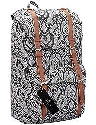 Quenchy London 15 Farben Leinen Rucksack - Mädchen Damen Freizeit Tagesrucksack Taschen - 25 Medium Schule Handgepäck Größe Rucksäcke - klassisch Retreat Tasche - 45cm x 30 x 19 ql916m