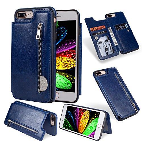 Leder Gurt Zurück (Artfeel Flip Brieftasche Hülle für iPhone 7 Plus, iPhone 8 Plus Leder Handyhülle mit Kartenhalter,Retro Reißverschluss Tasche Zurück Abdeckung mit Ständer Magnetverschluss-Blau)