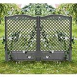 2er Set Spalier mit Erdspießen Rankgitter Blumengitter Rankhilfe 100cm grau Garten Terrasse
