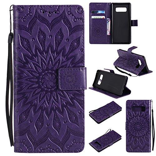 Samsung Galaxy Note 8 (2017) Hülle/Fall,Smytu Stand Hülle mit Kartenfächer und Bargeld Etui Klapphülle Magnetisch Flip Bumper Ledertasche Schutzhülle (Violett)