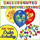 1. Schultag - Dekoset Girlande, Luftballon, Konfetti