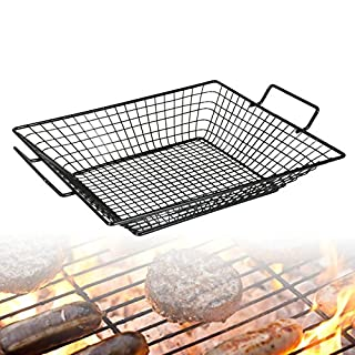 Barbecue BBQ Steel Mesh Basket Food Tray Grilling Non Stick Rack