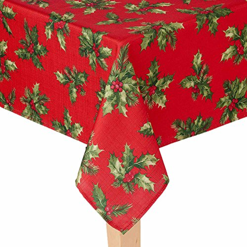 St. Nicholas Square Holly Berry Stoff Weihnachten Tischdecke, 100 % Polyester, rot, 60