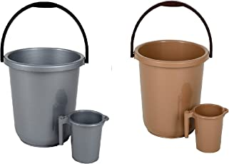 Regalo Unbreakable Plastic Bucket with Mug Super Saver Combo Set of 2 (16ltr)