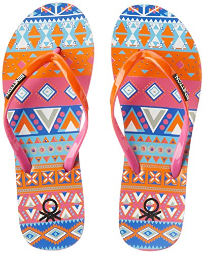 7. United Colors of Benetton Women's Red and Orange Flip-Flops and House Slippers