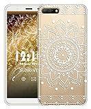 Sunrive Für Huawei Y5 2018/Honor 7S Hülle Silikon, Transparent Handyhülle Schutzhülle Etui Case für Huawei Y5 2018/Honor 7S(TPU Blume Weiße)+Gratis Universal Eingabestift