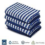 Xelay Tee, 100% Baumwolle Frottee Handtuch Egyptian, Soft Superdry monocheck schwarz Jumbo mit Küche mit Reinigungs-Tuch, Packung mit 3, 5, 6, 10, 15–40x 65cm, Blue/White Pack of 6, Einheitsgröße