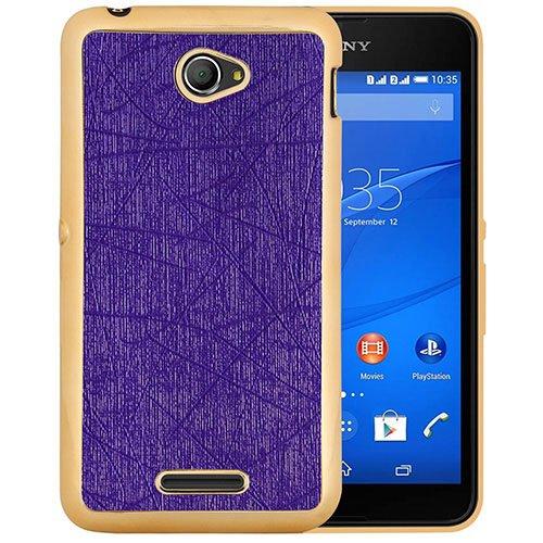 Casotec Electroplated Edge Chrome TPU Leather Back Case Cover for Sony Xperia E4 - Purple