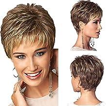 Peluca para mujer, de material sintético, pelo corto recto, tan natural que parece pelo real, ideal para disfraces, de color dorado claro