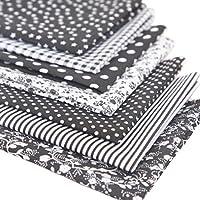 Souarts 7PCS Mixtes Textile Tissu Coton pour Diy Patchwork Artisanat Couture Noir 50cmx50cm