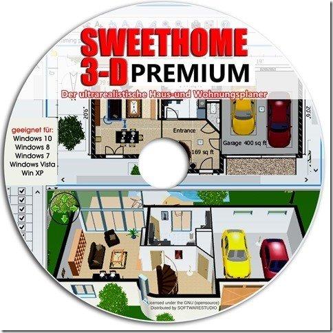 Sweet Home 3D Raumplanung - Premium Edition mit mehr als 1.000 3D-Modelle, perfekt für Haus und Wohnungsplaner -Für Windows 10 ® Windows 7®, 8® ,XP® und Vista® -Deutsche Version-