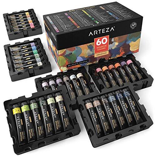 ARTEZA Premium Gouache-Farben-Set | 12 ml Tuben | 60 Verschiedene Deckfarben | Malfarben für Leinwandmalerei, Aquarellpapier oder Verwendung von Wasserfarben und Mischmedien