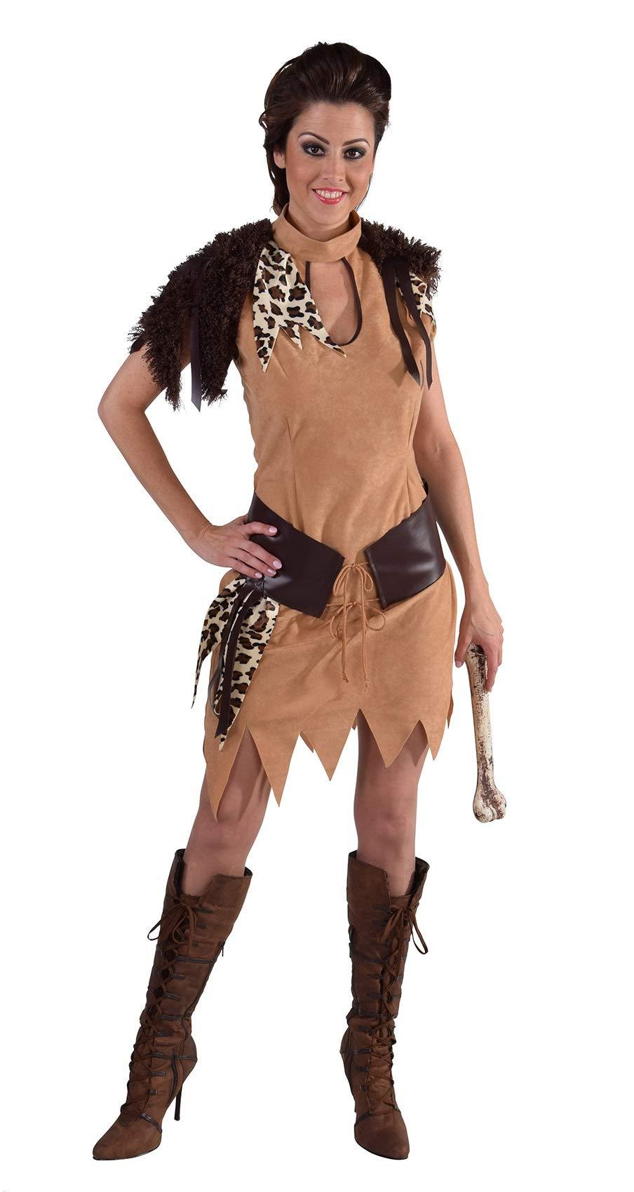 narrenkiste-M216174-XL-braun-Damen-Neandertaler-Kleid-Steinzeit-Kostm-GrXL