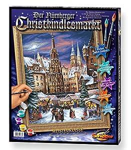 Noris Spiele Schipper 913 0336 El mercado de Navidad de Nuremberg - Set para pintar por números, 40 x 50 cm importado de Alemania