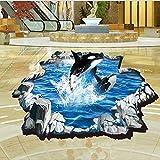 ALLDOLWEGE Romantische 3D Wall Sticker Boden Boden wand Dekoration Aufkleber Aufkleber Zimmer Tür Bodenfliesen bemalten Kacheln Aufkleber Wal DM 69-006
