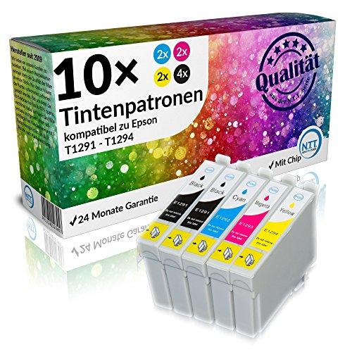 N.T.T.® 10 Stück XL Tintenpatronen für Epson Stylus (4 x T1291 , 2x T1292 , 2x T1293 , 2x T1294) mit Chip; 2 komplette Sätze + 2 x schwarz gratis -