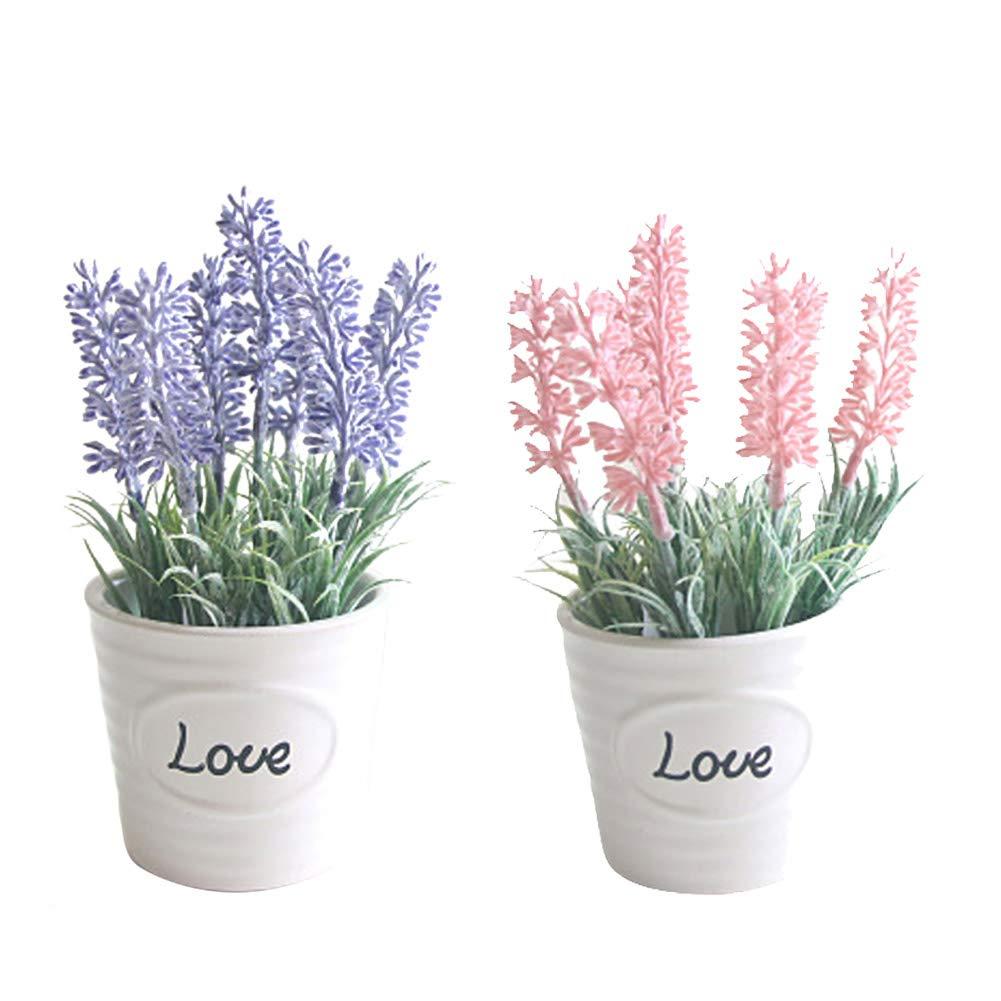 GFfsdghsh 2 Unidades de Flores Artificiales de Lavanda, Planta sintética Casi Natural en Maceta de Flores de cerámica…